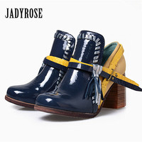 JADY ROSE Vintage Women Ankle Boots Straps Mixed Color Chunky High Heel Shoes Woman Fringed Women Pumps Martin Botas