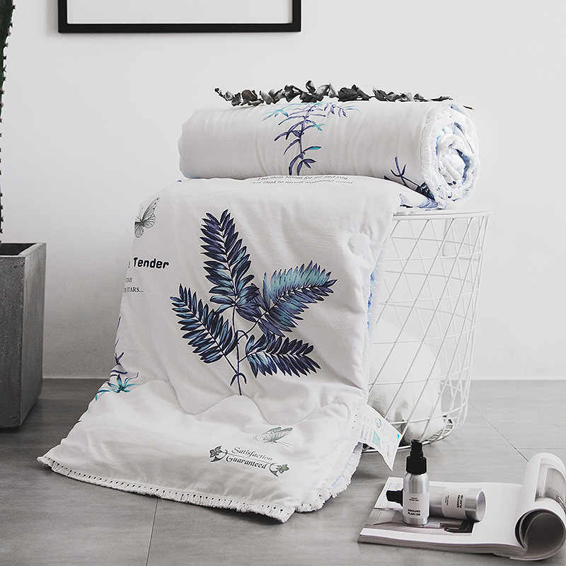 Summer Quilt Air-conditioning Comforter cool Feeling in Summer 110x150cm 100% Micro Fabric Fox Spring Plant Pastoral Textiles