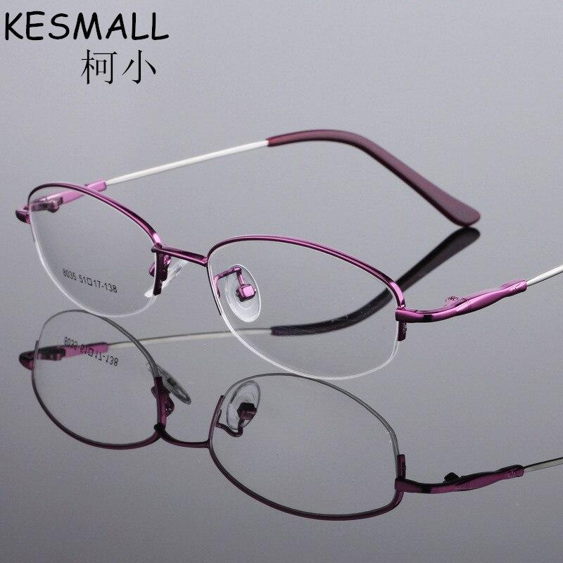 f77922bbcbc89 2018 Moda Vidros Ópticos Quadro Mulheres Óculos de Quadros de Liga de  Memória de Luz Senhoras Óculos Metade Aro da Armação Oculos de grau YJ198