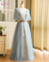 Waulizane Elegant V Neck Evening Dresses Half Sleeves Plus Size Lace Up With Sashes Floor Length