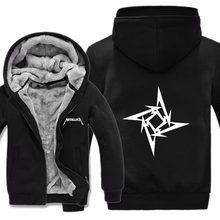Winter Warm Metallica Hoodies Thick Fleece Heavy Metal Rock band Sweatshirt Metallica Coat Warm Liner Men Sweatshirt Jacket(China)