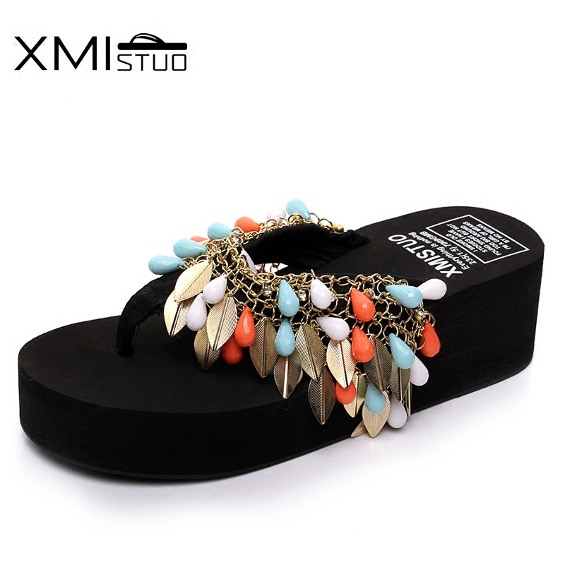 XMISTUO Simple fashion sequins chain beaded diamonds increase flip-flops students white-collar vacation sandals sandals slippers