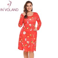 IN VOLAND Large Size Women Dress 5XL Autumn Christmas Printing Long Sleeve Slim Fit A Line