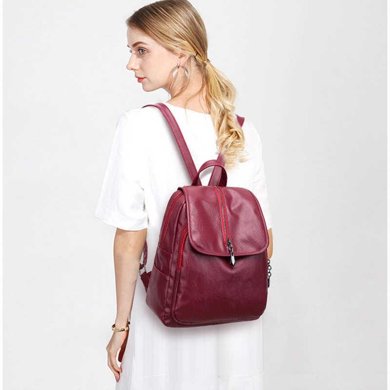 2018 nowych moda PU skórzany plecak kobiet ładny koreański styl kobiet szkolna torba na ramię nastolatek dziewczyny czarne panie Mochila miękkie