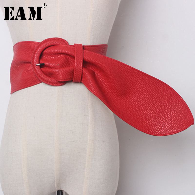[EAM] 2019 New Spring Solid Color Black Red PU Leather Brief Long Wide   Belt   Women Fashion Tide All-match JE13601