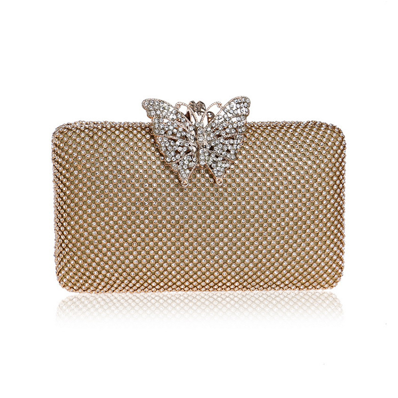 XIYUAN Delicate Collection Gold Evening Bag Women Clutch Luxury Female Evening Handbags Ladies Clutches Butterfly Diamond 2017 woman direct selling high grade luxury gold full diamond design female evening bag handbag party clutch wedding handbags