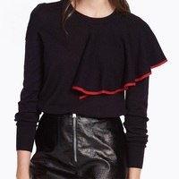 Red Black Contrast Color Ruffles Sweater Woman Casual O Neck Long Sleeve Patchwork Pullovers Tops 2018 Wool Knitted Sweaters