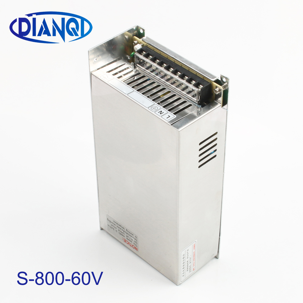 DIANQI alimentation 60 v 800 w 60 v 13a alimentation entrée 110 v 220 v sortie 60 v S-800-60 ac à dc alimentation ca convertisseur cc
