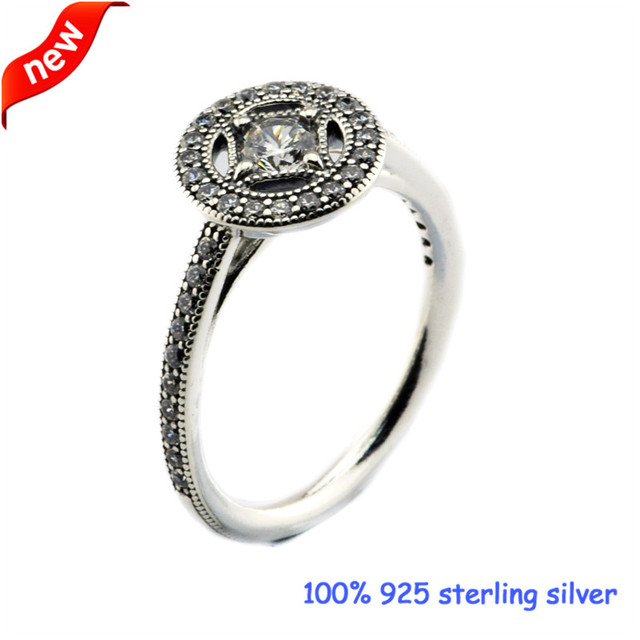 2016 New Style Vintage Allure Silver Rings with Clear CZ Original 100% 925 Sterling Silver Jewelry DIY 08R097