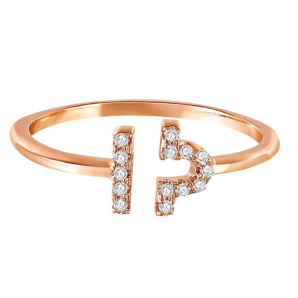12 chòm sao Hoàng Đạo Đăng Finger Nhẫn đối với Phụ Nữ Cô Gái Rose Gold Màu Có Thể Điều Chỉnh Cubic Zirconia Anel anillos Đồ Trang Sức Z4