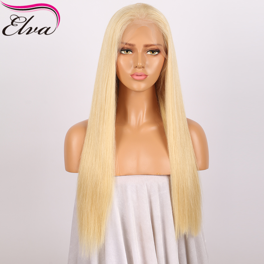 #613 Lace Front Human Hair Wigs With Baby Hair Glueless Brazilian Lace Front Wig Bleached Knots Elva Straight Remy Hair Wig 8-24