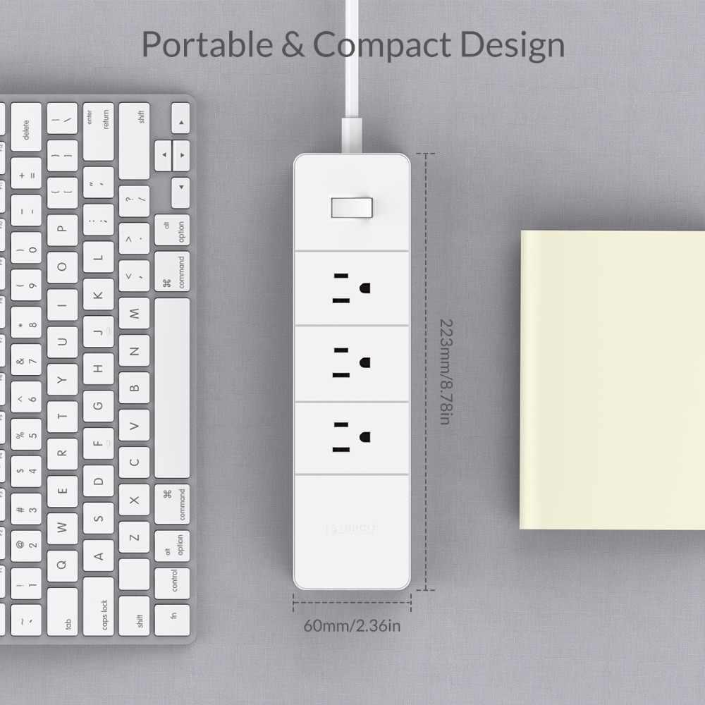 ORICO 4 CỔNG USB Công Suất Dải Ổ Cắm với 3AC 2AC Ổ Cắm HOA KỲ Cắm Chống Sét Bảo Vệ Ổ Cắm Điện Tử Thông Minh Dây Max 1250 W
