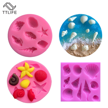 TTLIFE Ocean Conch Shell Silicone Mold Fondant Cake Pastry Decorating Tools Cupcake Confeitaria Chocolate Kitchen Baking Moulds