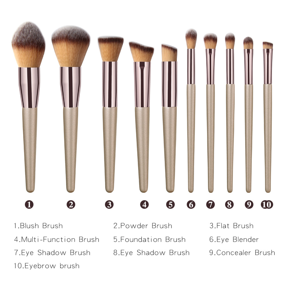 10Pcs Makeup Brushe Sets Best Professional Foundation Eyebrow Eyebrow Eyeshadow Brush Cosmetic Beauty Tool Kit H in Eye Shadow Applicator from Beauty Health