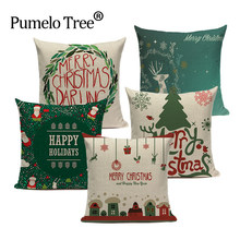 High quality Christmas Pillow Covers custom linen Cushion Cover Decorations for Home car print throw pillows dropshipping(China)
