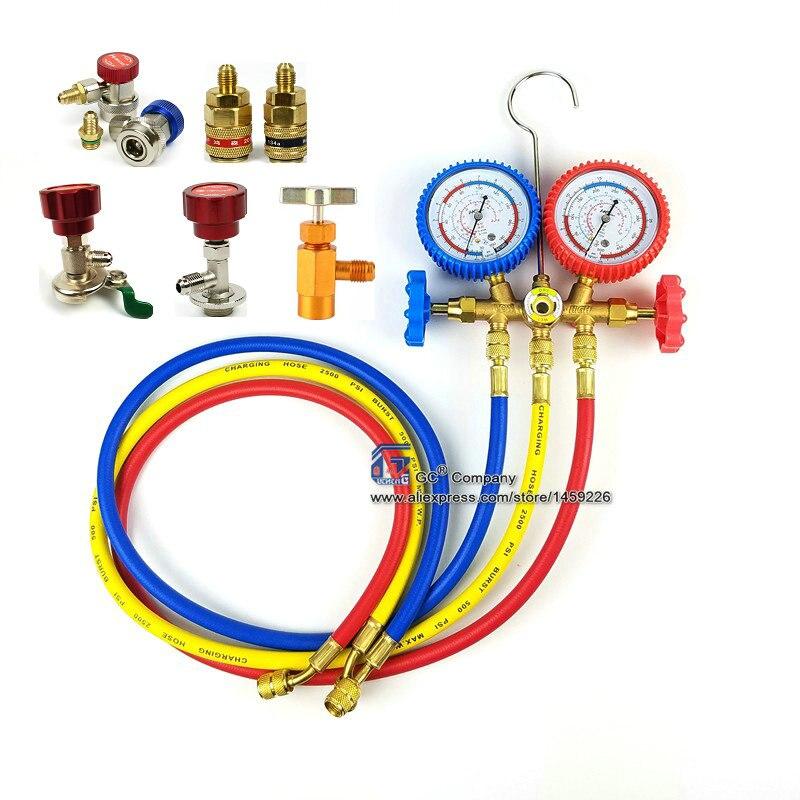 R134a R12 R22 R404a A/C Conjunto de Manómetros com Mangueira para Uso Doméstico/Automobile A/C Ar condicionado