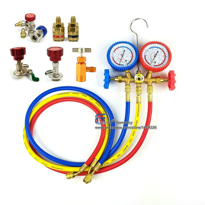 R134a R12 R22 R404a A/C Manifold Gauge Set with Hose for Household / Automobile A/C Air Conditioning
