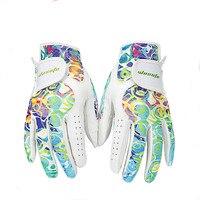Golf Gloves Women's Sport Gloves Left & Right Hand High Quality Soft sheepskin golf gloves golf accessories free shipping