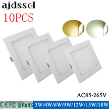 10X ultra thin LED Square Panel 3W 4W 6W 9W 12W 15W 18W 85-2565VSMD2835 recessed ceiling panel light downlight White/ Warm white