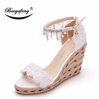 Women's Summer Fashion Lace Beaded Fish Mouth Slope heel Sandals Size Size White Slope heel Sandals One word Buckle Wedding Shoe