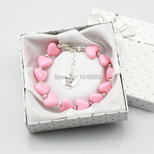 Personalised Girl baby Gift Charm Bracelet pink Heart made for you With Box