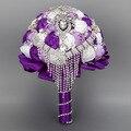 2017 Невесты Свадебный Букет Роскошные Дешевые Фиолетовый и белый Свадебные Цветы Свадебные Букеты Искусственные Свадебный Букет Роз