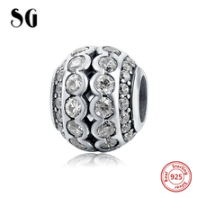 SG 925 Sterling Silver Charms Original beads with clear CZ stone fit pandora bracelet jewelry accessories making for women gift
