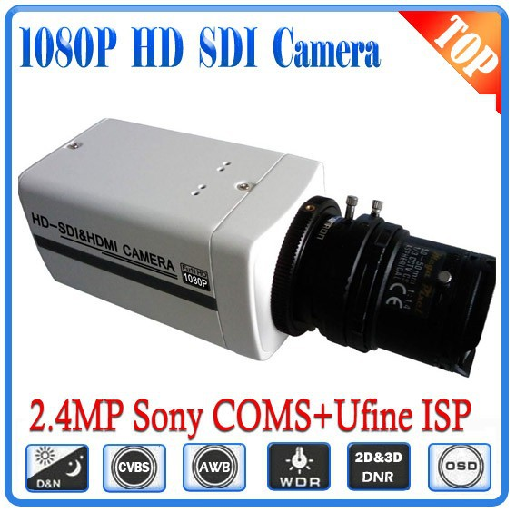 Free shipping 1080P HD SDI Bullet Camera With 2.8-12mm Lens WDR OSD 3D-DNR,2.43megapixels Sony COMS,2 years Warranty,CVBS output hd sdi miniature headset bullet camera 1920x1080 30fps