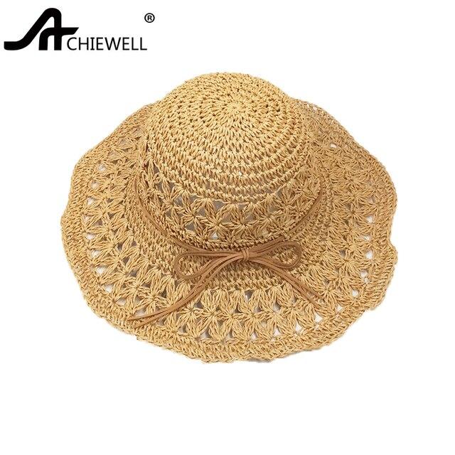 7604692c0ef ACHIEWELL Spring Summer Sun Straw Paper Hats For Women Hat handmade Crochet  Sun Hat Visor Hollow