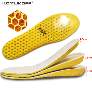 KOTLIKOFF 1.5-3cm Height Increase Insole Breathable Honeycomb Cushion Height Lift Shoe Heel Insert Taller Unisex Foot Pads
