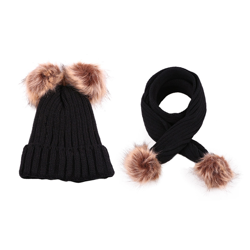 Fashion Winter Children Hat Glove Sets Casual Solid  Kids Double PomPom Beanies Child Thick Warm Knitted PomPom Scarf Winter Set