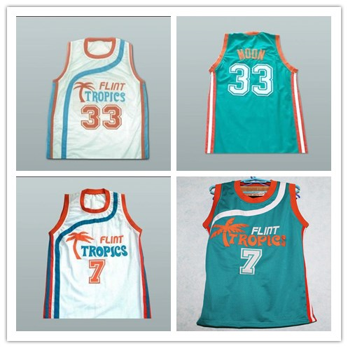 Custom XS-6XL Flint Tropics 7 Coffee Black 33 Jackie Moon Semi Pro Team  White Green Basketball Jersey e4e66ba4d