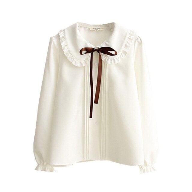 2017 Spring new Women Vintage Elegant Ribbon Bow Ruffled hem Peter pan collar Pleated Ruched White Basic Shirt Soft Cute Blouse