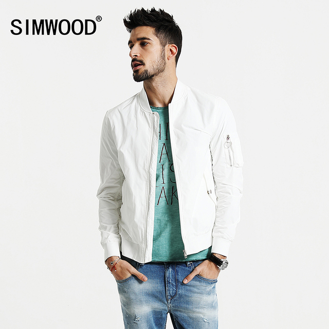 SIMWOOD 2017 New Spring Bomber Jacket Men Windbreaker Fashion  Casual Coats Slim fit WJ1664