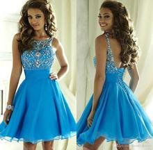 Little Short Sky Blue Chiffon Crystal Beaded Sweet 16 Homecoming Dresses 2017 Backless Cocktail Dresses Corset Party Gowns H16