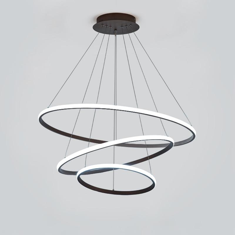 Black/White Modern LED Pendant Lights For Living Room Bedroom Dining Room Indoor Home 1/2/3/4 Circle Rings Deco Pendant Lamp