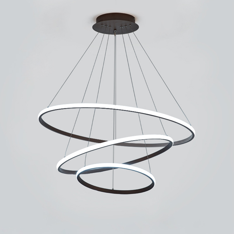 Brown/White Modern LED Pendant Lights For Living Room Bedroom Dining Room Indoor Home 1/2/3/4 Circle Rings Deco Pendant Lamp