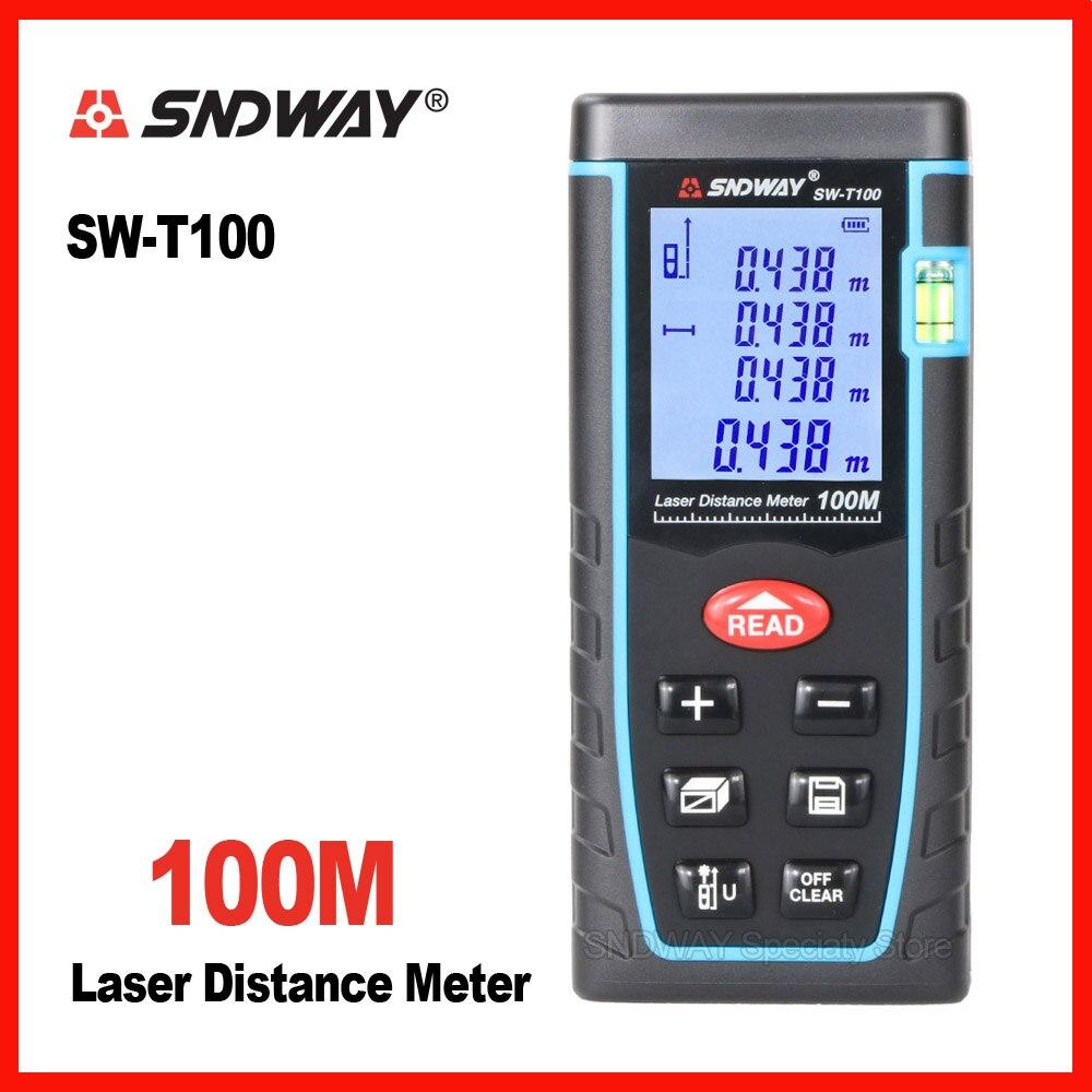 Sndway digital laser range finder distance roulette tape measure meter trena rangefinder Electronic tester rulers 100m tester portable d100 100m electronic digital laser power tape measure