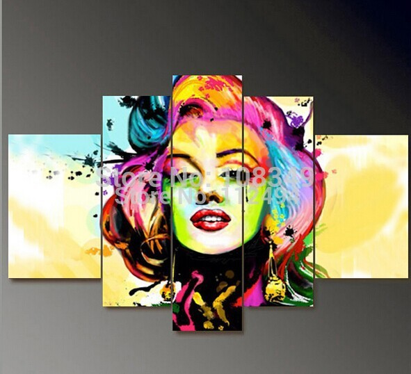 100 hand painted oil painting on canvas pictures frame color marilyn monroe home decoration wall art modern paintings 5pcs in Painting Calligraphy from Home Garden