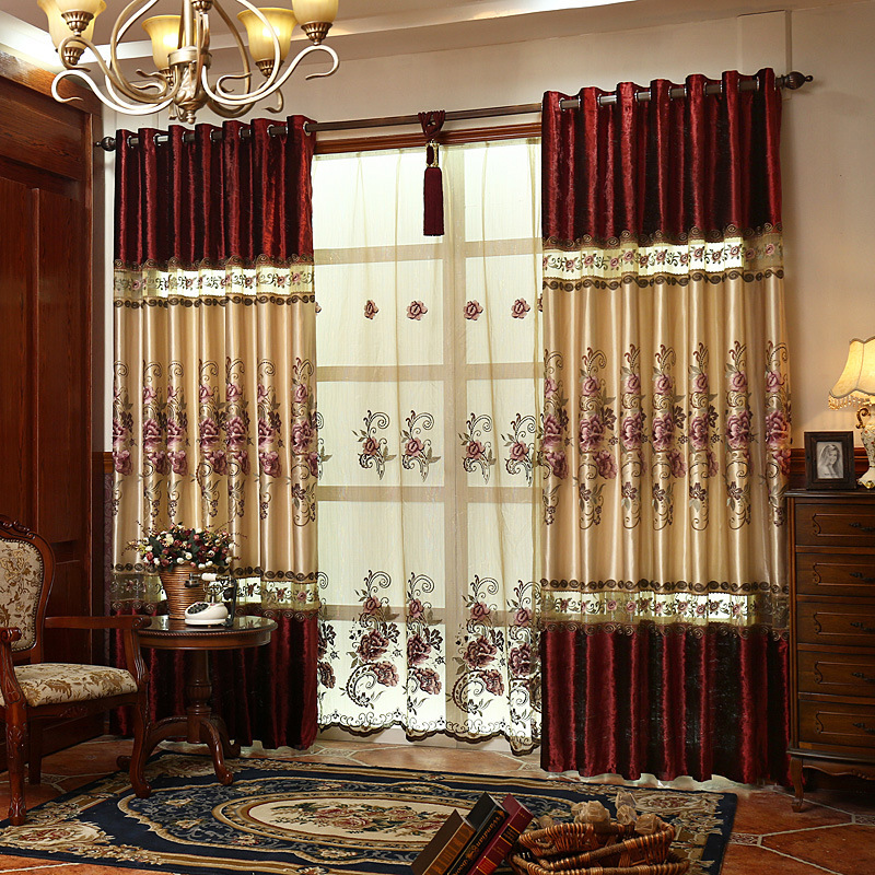 Ancient Oriental High Grade Velvet Sching Embroidery Curtain Shading European Style Living Room