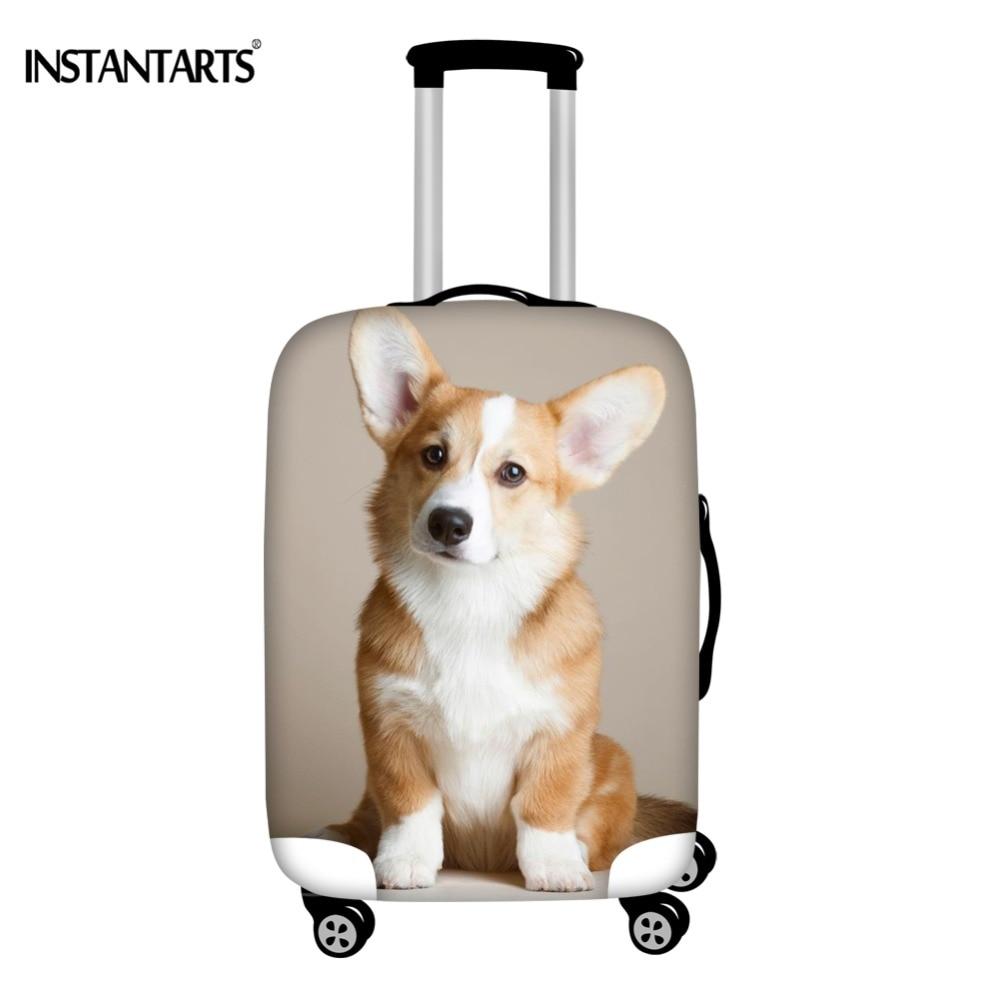 Baggage Covers Orange Cute Corgi Dog Pattern Washable Protective Case