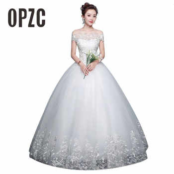 Real Photo Cheap Boat Neck Lace Up Ball Wedding Dresses 2018 Vintage Plus Size Bridal Dress Wedding Gown Embroidery Appliques - DISCOUNT ITEM  15% OFF Weddings & Events