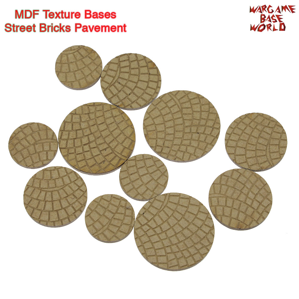 MDF Texture Bases - 25mm - 40mm Street Bricks Pavement Texture Bases- Laser Cut