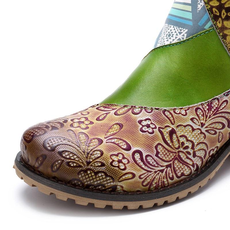 Fleurs Cuir Genou Prova Longue Chaussures Patchwork Femmes Imprimé Botas Véritable En Color Femme Mixed Ethnique Perfetto Zipper Talon Bottes qMzGSVUp