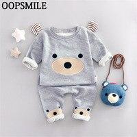 Cotton Children Cartoon Baby Boys Clothes Set Kids Clothing Suit Bear Sweatshirt Pants 2Pcs Suit Bebe
