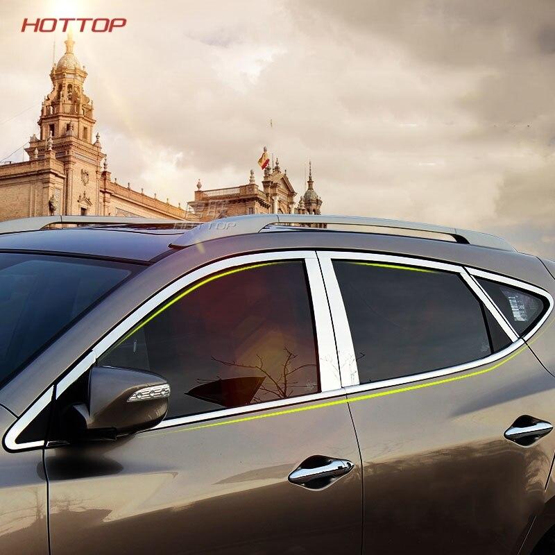 TopUnion Stainless Steel Center Pillar Window Trims Windows Middle Frame Car stickers for Toyota Toyota PRADO car styling