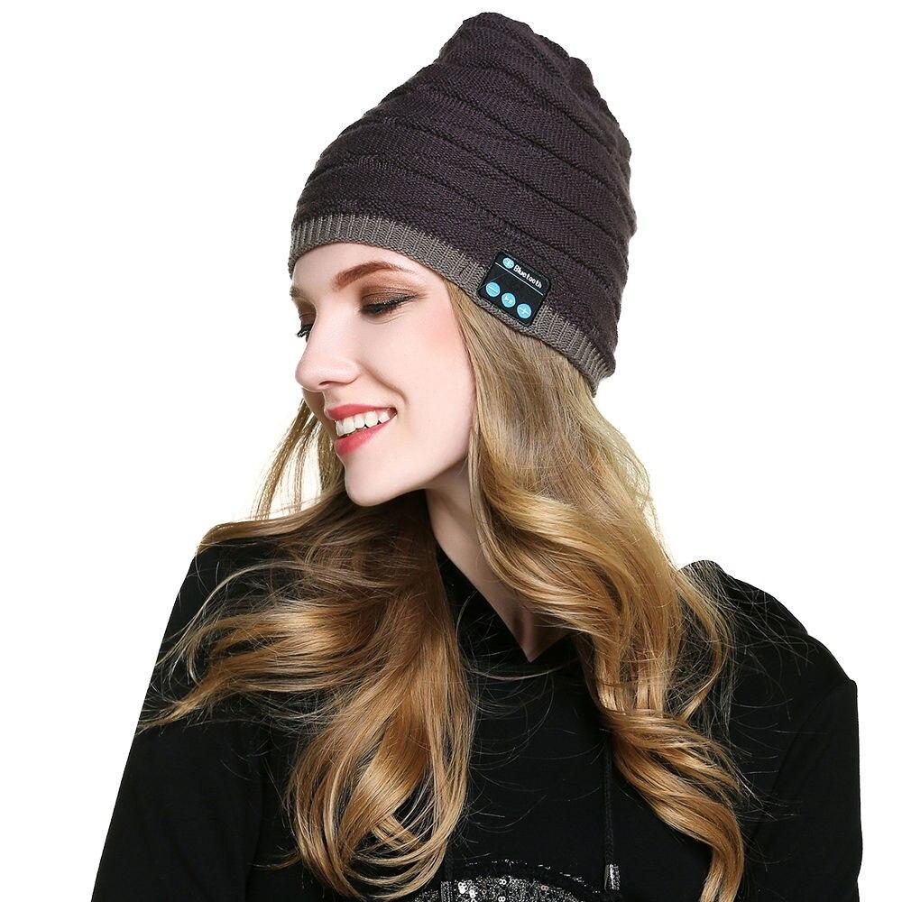 VOBERRY Women Man Bluetooth Music Soft Beanie Winter Warm Hat More Style Stereo Headphone Built-in Mic Headset Wireless Cap