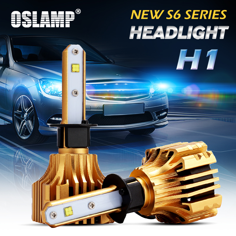 Oslamp S6 70W 7000lm H1 LED Car Headlights 6500K White Led SMD Chips Led H1 Fog Lamps All-in-one Super Bright Auto Front Bulbs oslamp s5 series 2x 36w h1 led headlight bulbs 6500k white cob chips 2pcs h1 fog lamps all in one led car bulbs with cooling fan