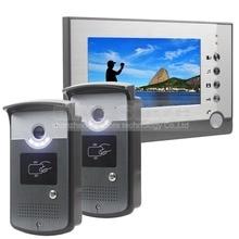 DIYSECUR 2 Cámara 1 Monitor de 7 pulgadas Video de La Puerta Teléfono Entrar ID Desbloqueo de Intercomunicación de Manos Libres LED de Visión Nocturna cámara