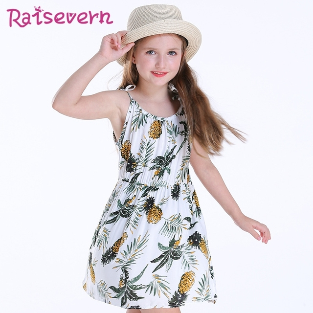 3c6f54e2265 Fruit Pineapple Print Children Stitching Clothing Tropic Plant Baby Girls  Floral Strap Simply Dress Lovely Casual Draped Dress